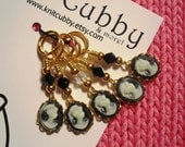 Elegance in Black (listing for FIVE) Cameo NON SNAG Stitch Markers