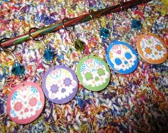 Confetti Sugar Skulls NON SNAG Stitch Markers