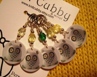 Retro Owl NON SNAG Stitch Markers