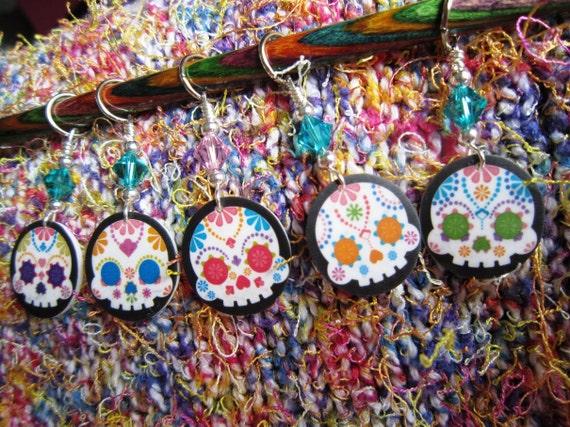Confetti Sugar Skulls on Black NON SNAG Stitch Markers