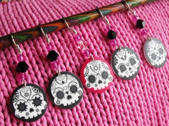 Night & Day Sugar Skulls NON SNAG Stitch Markers