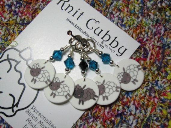 Sheep in Blue NON SNAG Stitch Markers