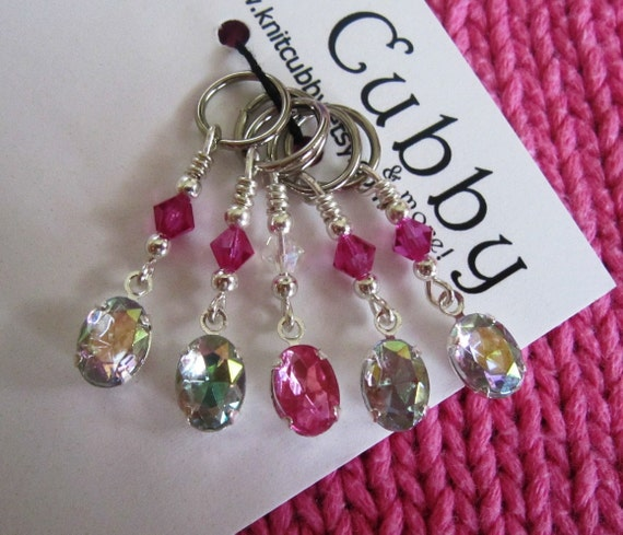 Faceted Gems and Crystals in Iridescent Stitch Markers - LIMITED QUANTITY AVAILABLE