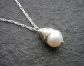 Ivory Pearl Wire Wrapped Pendant - Pearl Necklace, Wire Wrapped, Drop Pendant, Pearl Pendant, Sterling Silver, Pearl, Bridal, Jewelry