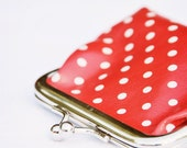 Nursery fine art photo - little girl goes shopping - red dotty purse - 8x8 for framing