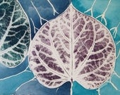 Blues, leaf print with watercolor