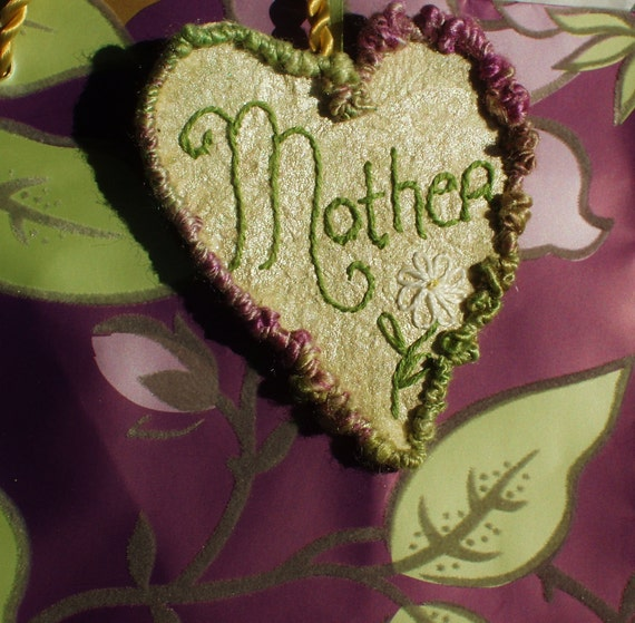 Mother's Day Crazy Quilt Fiber Art Embroidery Heart Hang Tag Decoration