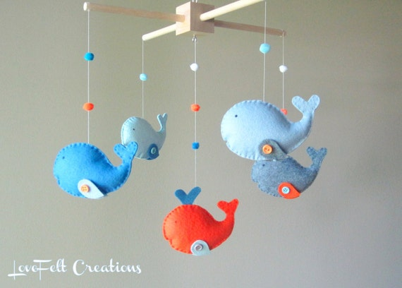 baby crib mobile custom baby mobile whale mobile zoology. Black Bedroom Furniture Sets. Home Design Ideas