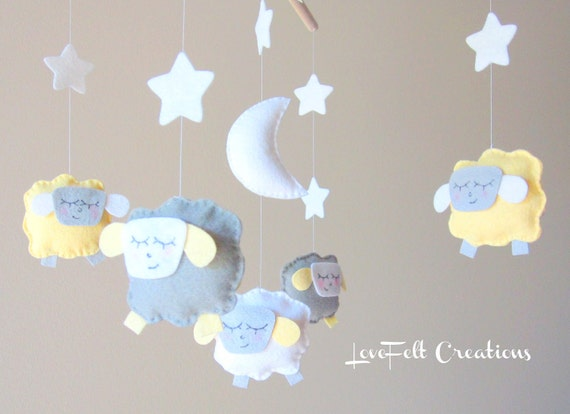 Baby Crib Mobile - Sheep Mobile - Lamb Mobile - Yellow and Gray Mobile