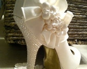 Reserved for Jaime V. Ivory Wedding Shoes, Swarovski Rhinestone Bridal Shoes