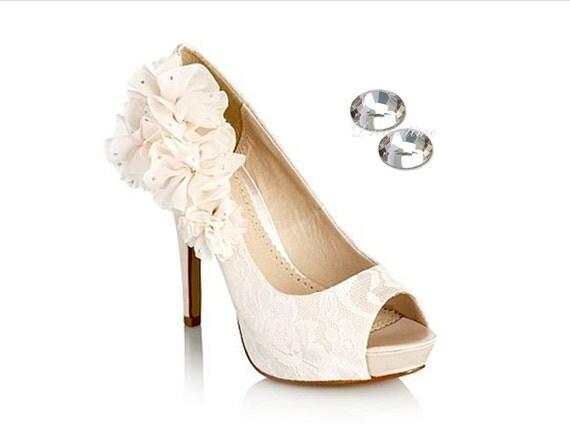 Ivory wedding shoes, Swarovski bridal shoes, Black wedding shoes Rhinestone prom high heels