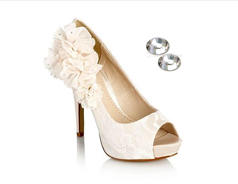 Wedding High Heels Ivory: Ivory Wedding Shoes Swarovski Bridal Shoes By