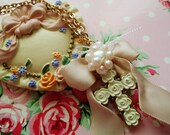 Lovely Vintage Roses Cross with Satin Bow Gold Necklace LIMITED STOCK: 1