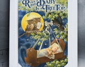 Baby Card, Rock-A-Bye Baby with Owls by Victoria Studio Ink - Baby Congratulations Ribbon