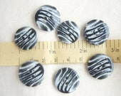 Zebra Pattern Buttons Vintage - Set of 7