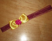 Yellow and Pink Floral Bow Headband with Lace Gossip Girl Blair Waldorf Style