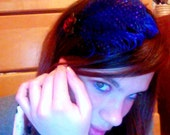 Royal Blue Headband/Fascinator with Ostrich Feather and Tulle, Vintage/Great Gatsby/Gossip Girl Style