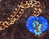 Blue and Bronze Flower Cala Lily Necklace with Crystal and Lucite