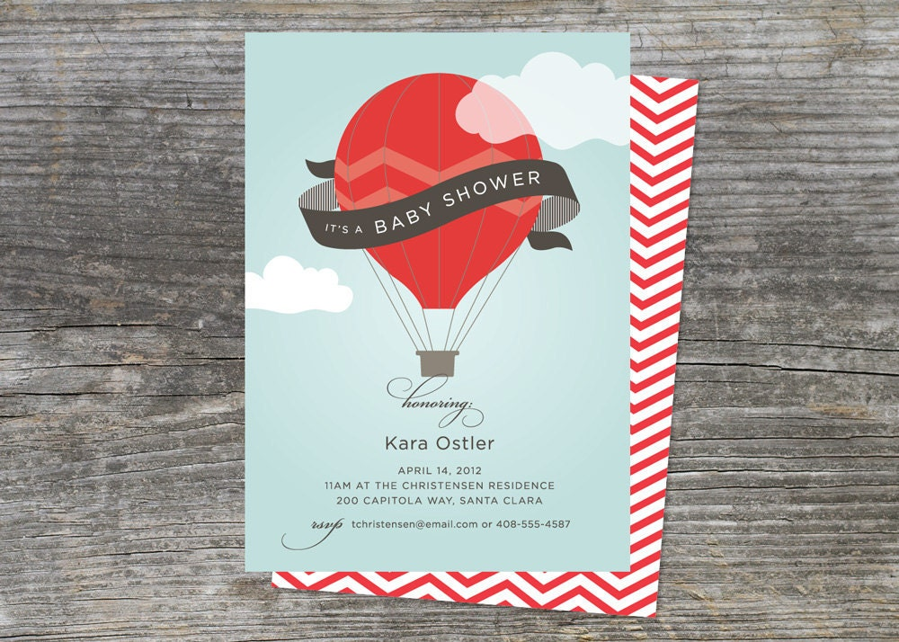 Hot Air Balloon Baby Shower Invitation 75 by brightsideprints