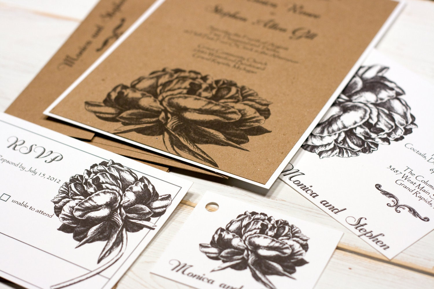 Items Similar To Romantic Peony Wedding Invitations Rustic Engraved Invitation Kraft Tan