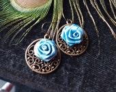Earrings,Brass Filigree and Silk Flower, Free Shipping