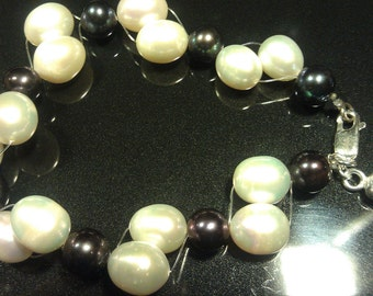 Twisted Beautiful REAL Large Freshwater Pearl Bracelet, Peacock 8mm and Ivory 10x12mm Pearls Beautifully Twisted w/Sterling Silver Findings