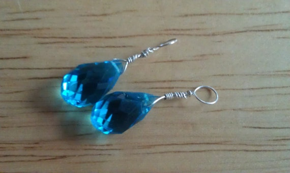 Reserved for Rebecca, Pendant x 2, dangles, Deep Blue Quartz Crystal Glass, Faceted Teardrops, wire wrapped in sterling silver