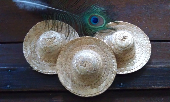 Straw Hats, Craft Supply, Decoration, fill with popouri, use in flower arrangement, for a childs doll, etc..