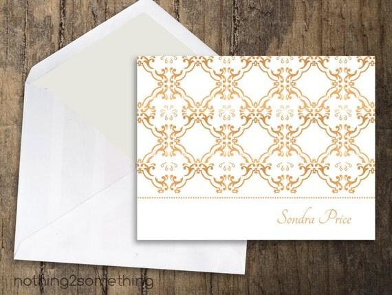 PrintableThank You Card Stationary-Burnt Orange Damask w/ Name