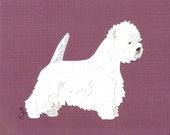 West Highland White Terrier handmade original cut paper collage dog art