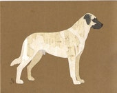 Anatolian Shepherd handmade original cut paper collage dog art