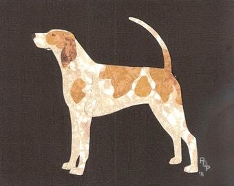 American English Coonhound handmade original cut paper collage dog art