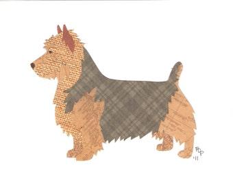 Australian Terrier handmade original cut paper dog art