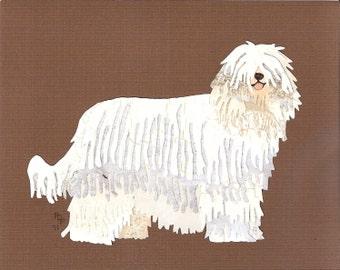 Komondor handmade original cut paper collage dog art