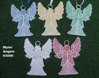 Angel Ornament or Gift Embellishment - Mylar & Lace