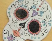 Sugar Skull Ceramic wall Tile handpainted Majolica