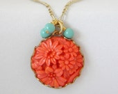 Coral and Mint Green Vintage Simple Charm Neckalce - ImogenandEloise