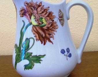 Vintage BIA Cordon Bleu Caroline Pattern 32 Oz Pitcher with Poppies, Morning Glories, Forget-me-nots and Butterflies
