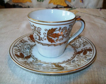 Vintage Lefton China Demitasse Cup and Saucer, Hand Painted Gold and White, 271