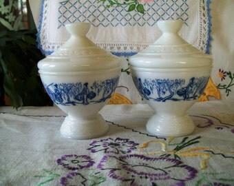 Vintage Milk Glass Lidded Jar, Blue Asian Scene Applied, Made in Belgium