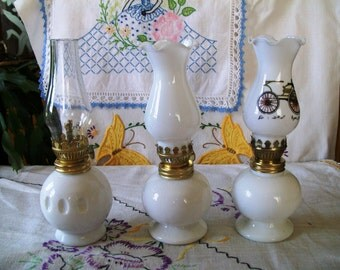 Miniature Milk Glass Oil Lamps, Various Styles, Group of Three