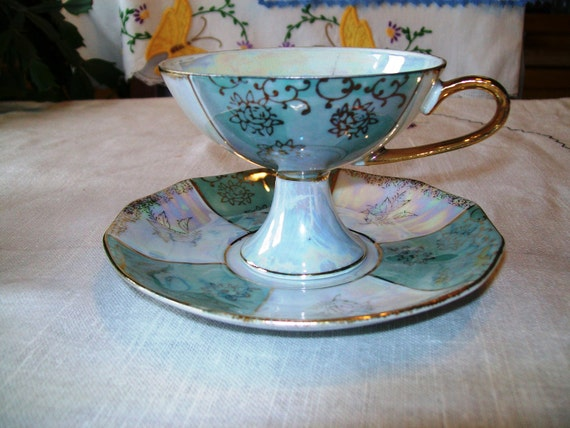 Vintage Footed Lusterware Teacup and Saucer, Fred Roberts Co., Opalescent