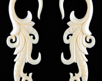 PAIR Organic Tribal Floral Carved Bone Ear Plugs Gauges NOG-167