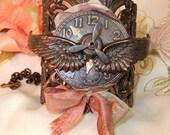 Steampunk Rusty Black Ox Filigree Winged Clock Cuff