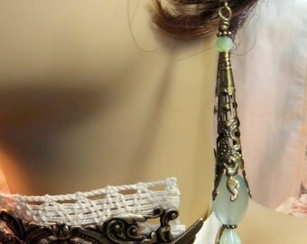 New Jade and Czech Crystal Bicone in Filigree Brass Cone