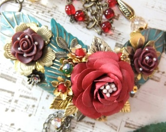Red Flowers and Leaves Asymmetrical Assemblage Necklace