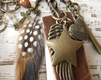 Memory Book Necklace with Large Links, Charms, Key & Heart Locket