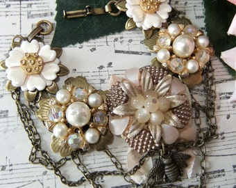 Up-cycled Bracelet With Vintage Earrings, Chain and Charms
