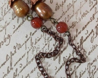 Carnelian and Pearl Earring with Copper Cap & Chain