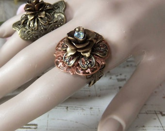 Multi Layer Filigree Antiqued Brass & Copper ring with Swarowski Crystal